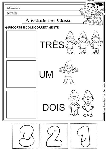 Atividade Matemática Educação Infantil- Corte e Recorte Educativo