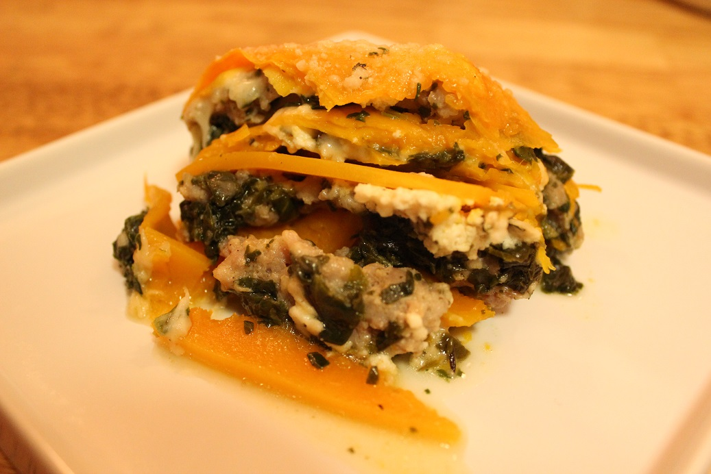 Runaway Apricot's Butternut Squash Lasagna with Sausage and Spinach