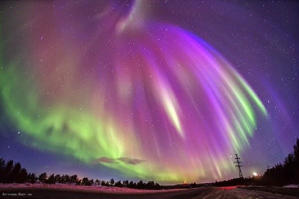 Aurora yang Muncul Saat Badai Matahari 6 April 2014