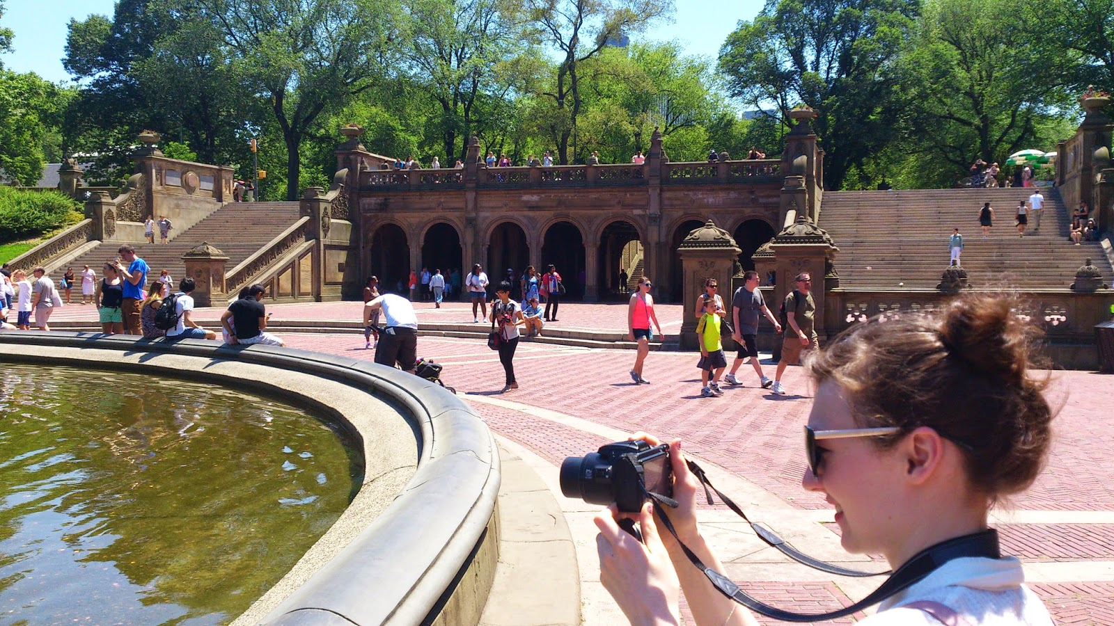 new york city central park architecture fountain photography tree people girl