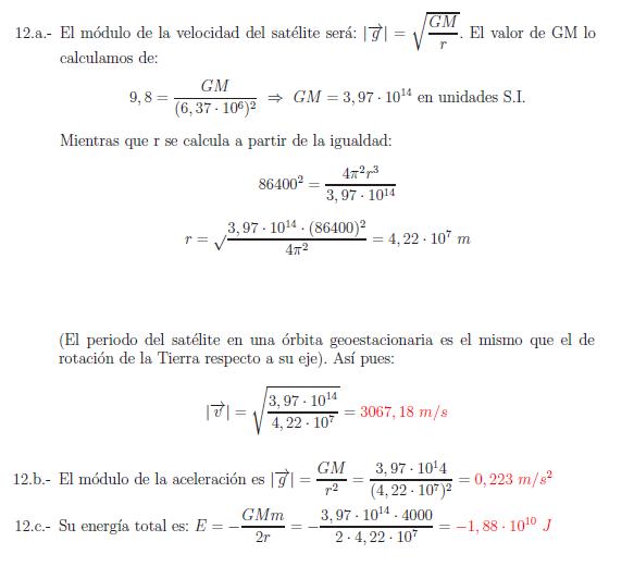 Examenes de selectividad campo gravitatorio problema resuelto 12