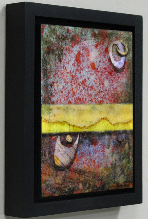 mixed media collage with resin
