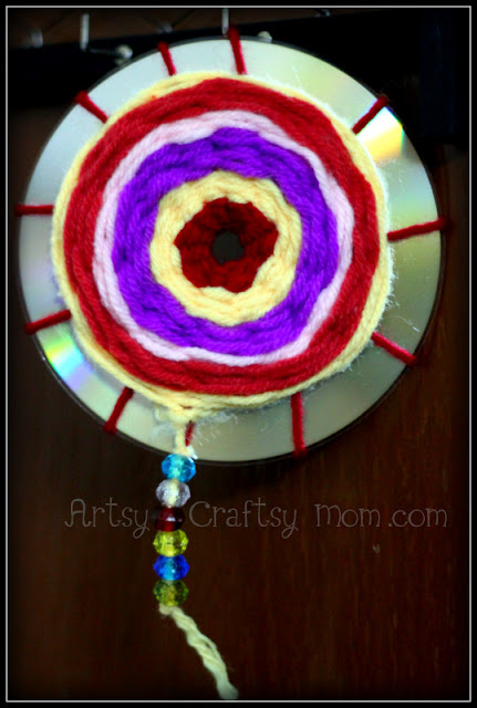 Upcycled CD Wool Weaving