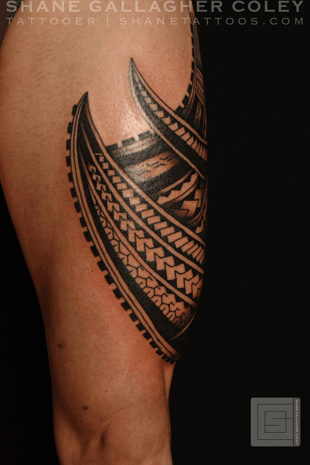 Maori polynesian tattoo polynesian thigh tatau tattoo for Polynesian thigh tattoo
