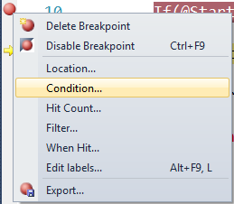 how to set conditional breakpoint in ssms