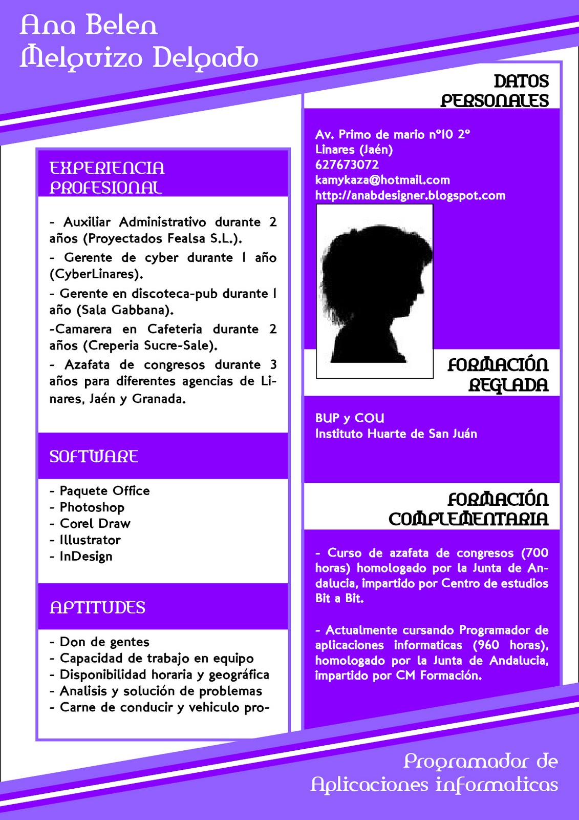 4-Ana Designer: Ej 07 - Diseño y maquetación Curriculum