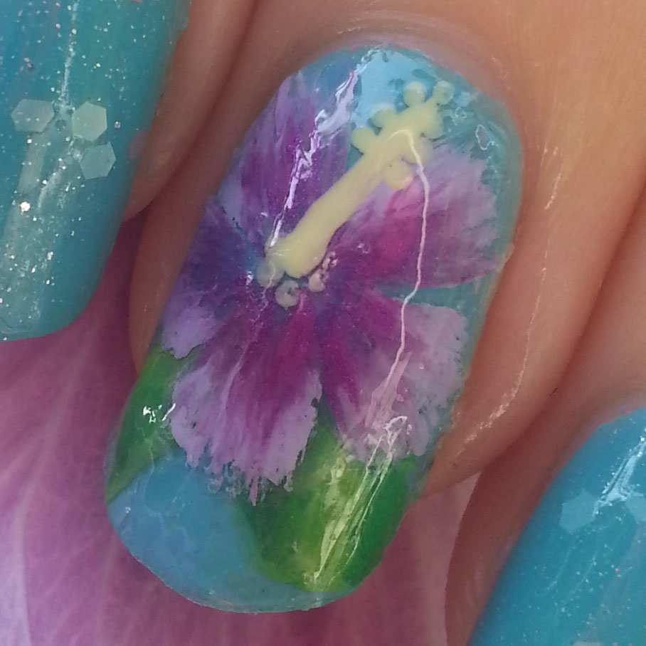Piggieluv Hibiscus Nail Art Using The One Stroke Technique