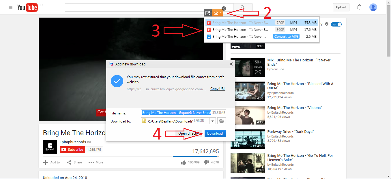 cara download video atau mp3 di youtube via baidu