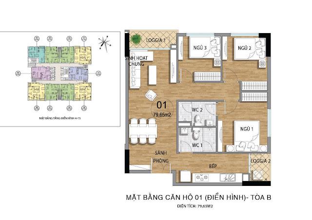 Mặt bằng căn hộ B01 tầng 4-15 dự án Valencia Garden