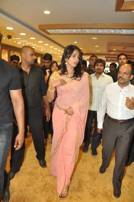 Anushka Shetty in Mustard Saree and Golden Blouse in a Shopping mall unseen pics