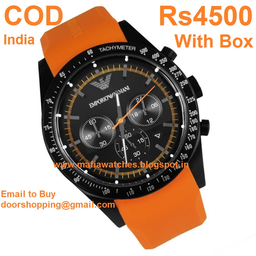 rs3500 only emporio armani chrono men s watch ar5987 black steel rs3500 only emporio armani chrono men s watch ar5987 black steel body orang pu band