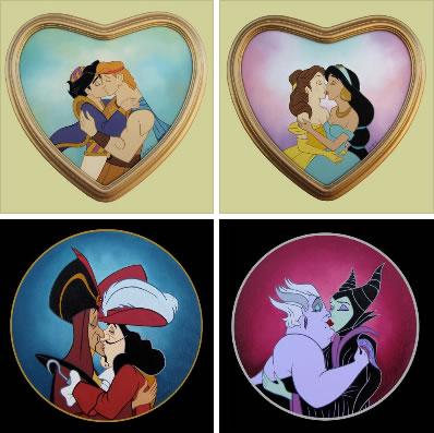 Beijo entre personagens da Disney em arte do mexicano Rodolfo Loaiza (Foto: Reprodução/Buzzfeed)