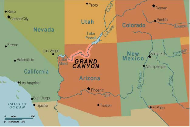 United States Map Grand Canyon - Grand canyon on map of us