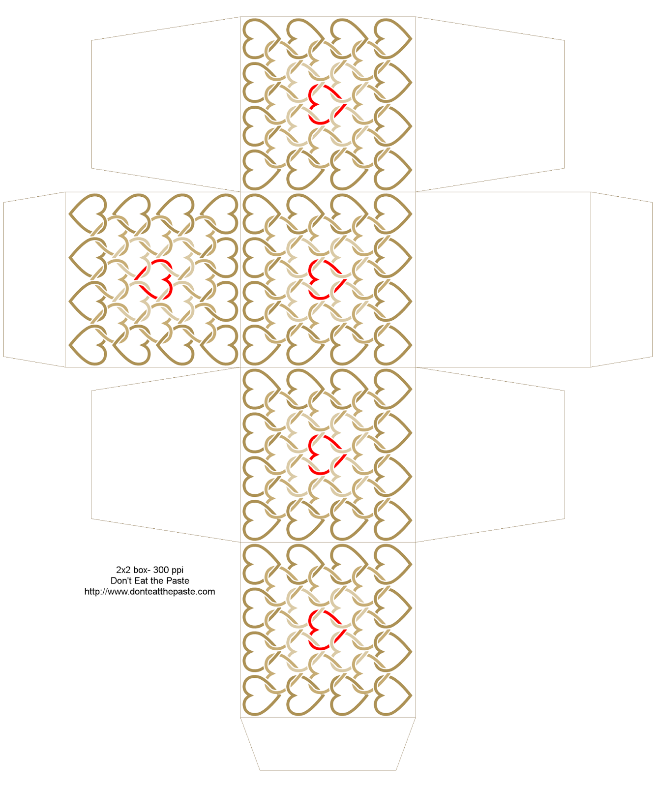 2x2x2 inch printable linked hearts box in tan and red- also available in a different size and in blue and orange