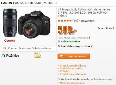 Saturn: CANON EOS 550D+18-55III+75-300III für 599 Euro