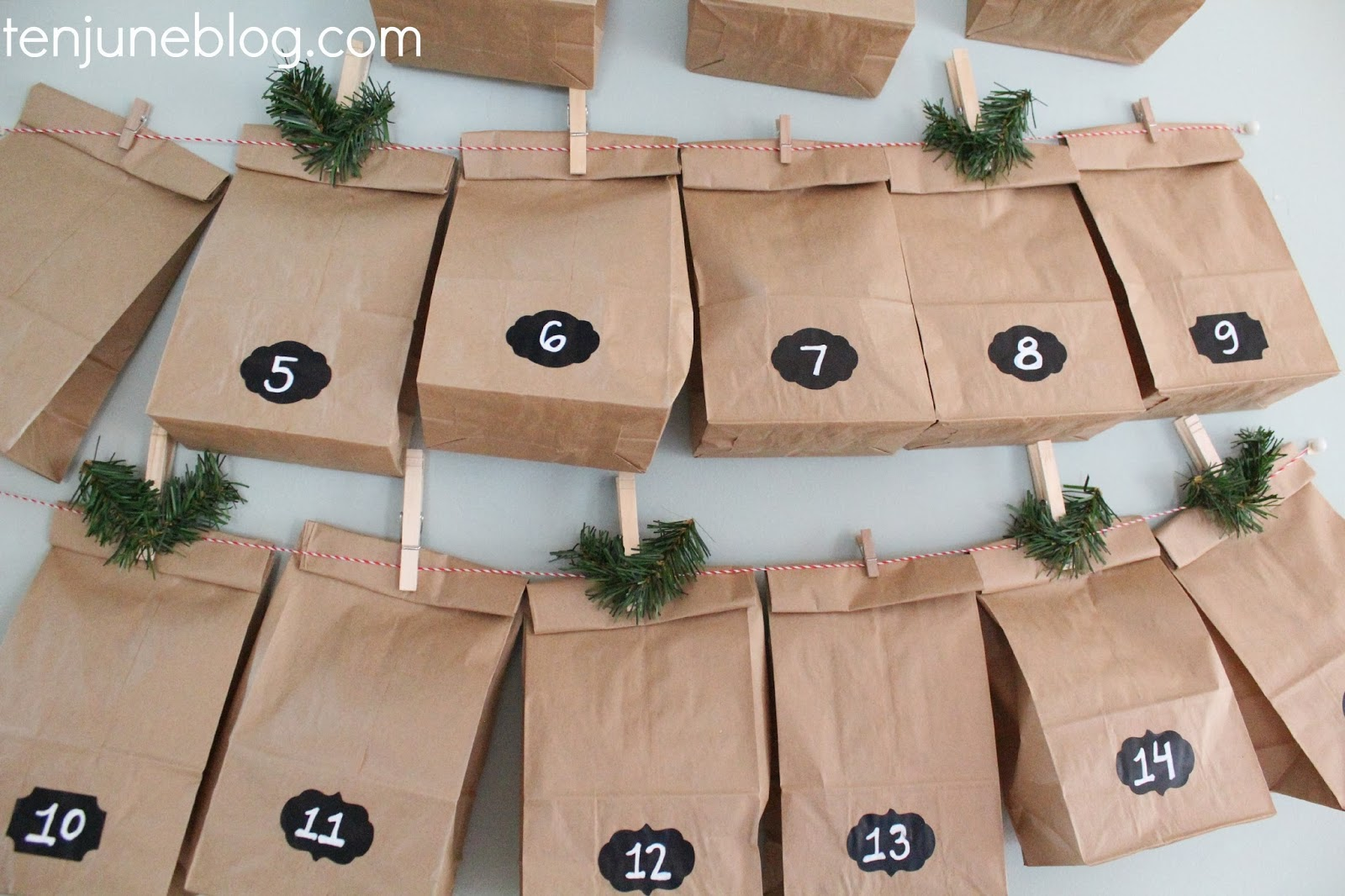 Ten june simple paper bag chalkboard tag advent calendar for Diy christmas advent calendar ideas