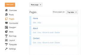 Blogger page tabs screenshot