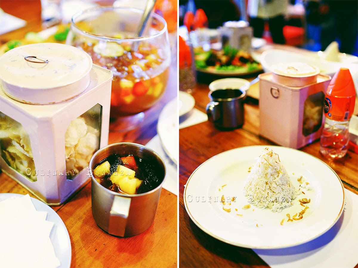 Left: Tii Gimbrit (fruit tea punch bowl) | Right: Jasmine rice topped with shallots