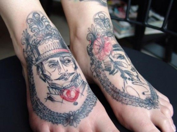 Original graphic linework portraits tattoo on feet by Marta Lipinski