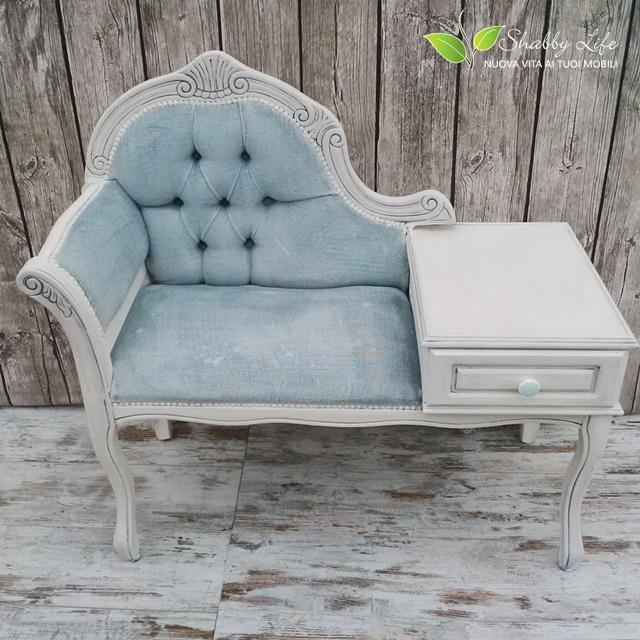 Shabbylife cassandra restyling di un divanetto in velluto for Poltrone shabby