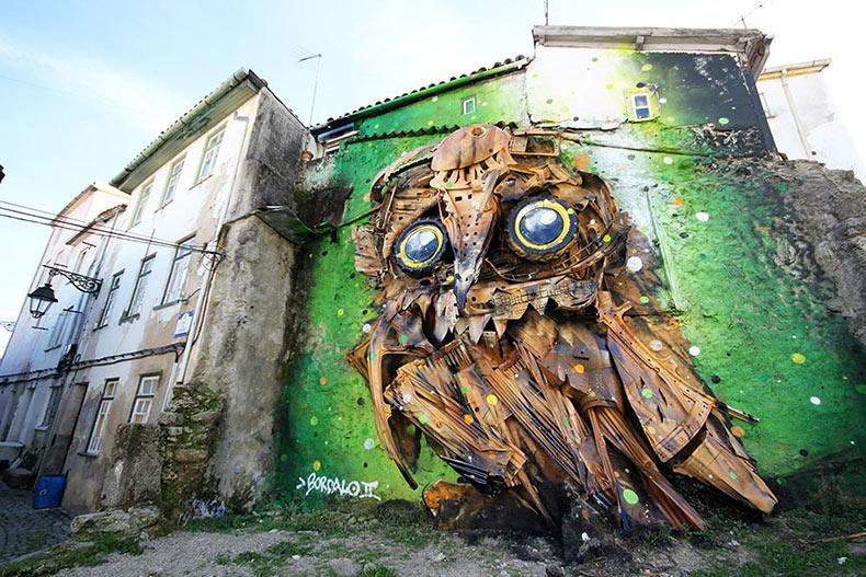 Artista urbano Bordalo II crea una escultura de búho gigante a partir de basura