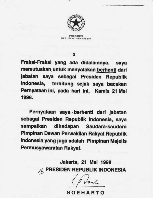 Biro Naskah Pidato Isi Pidato Pengunduran Diri Presiden Soeharto