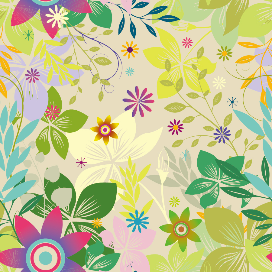 美しいシームレスな花柄の背景 Seamless Floral Vector イラスト素材