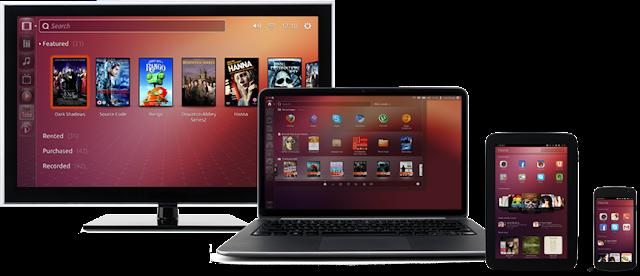 TV, notebook, tablet e smartphone com Ubuntu