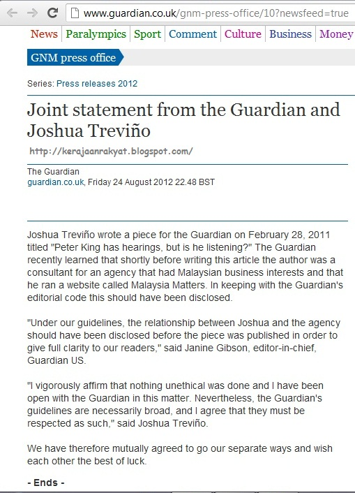 Joint statement from the Guardian and Joshua Treviño