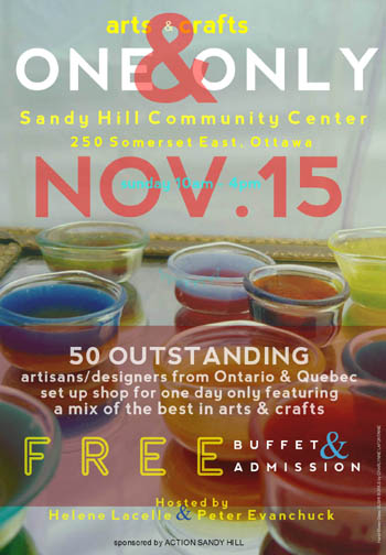 ONE & ONLY arts/crafts show - NOV 15, 2015 - sandy hill community center
