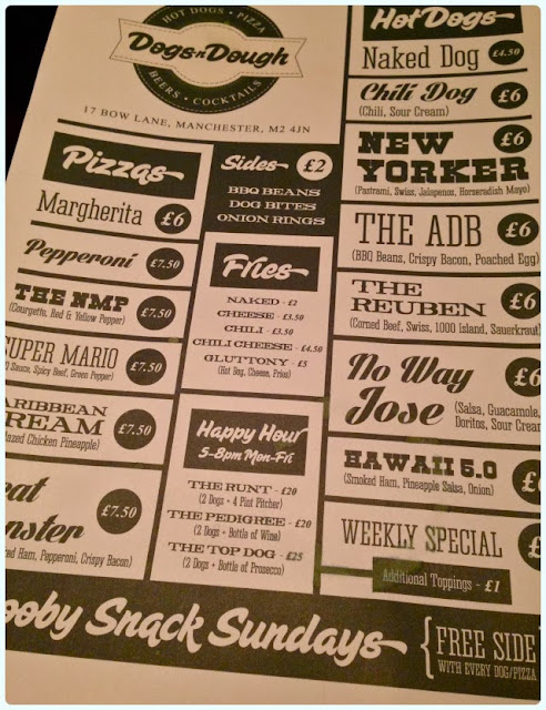 Dogs n Dough, Manchester - Menu