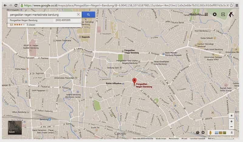Peta Menuju Pengadilan Negeri bandung