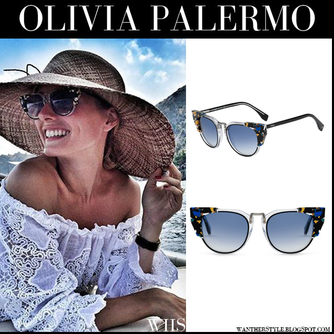 Olivia Palermo with blue marbled cat eye Fendi Galassia sunglasses what she wore italy vacation 2015