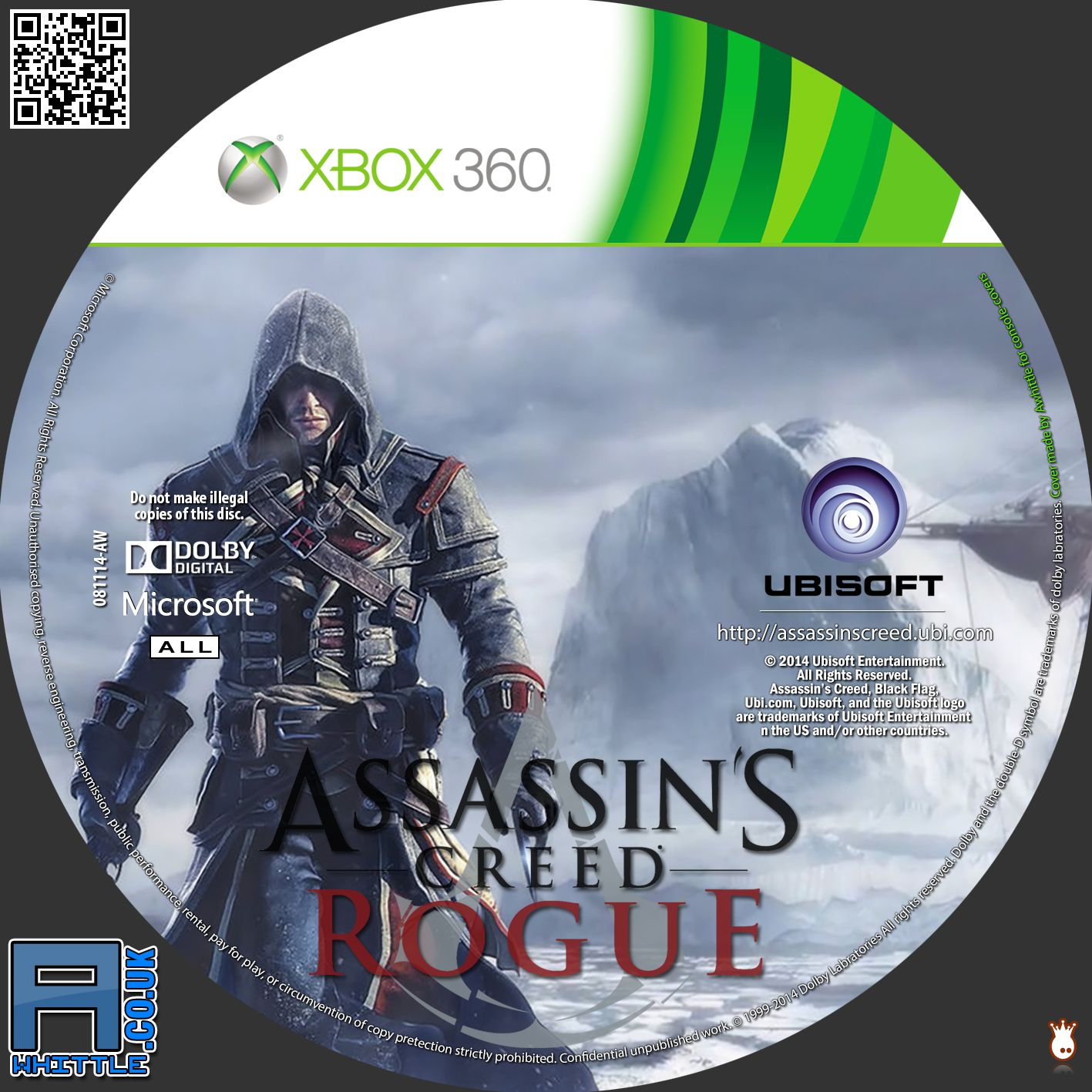 Label Assassins Creed Rogue Xbox 360