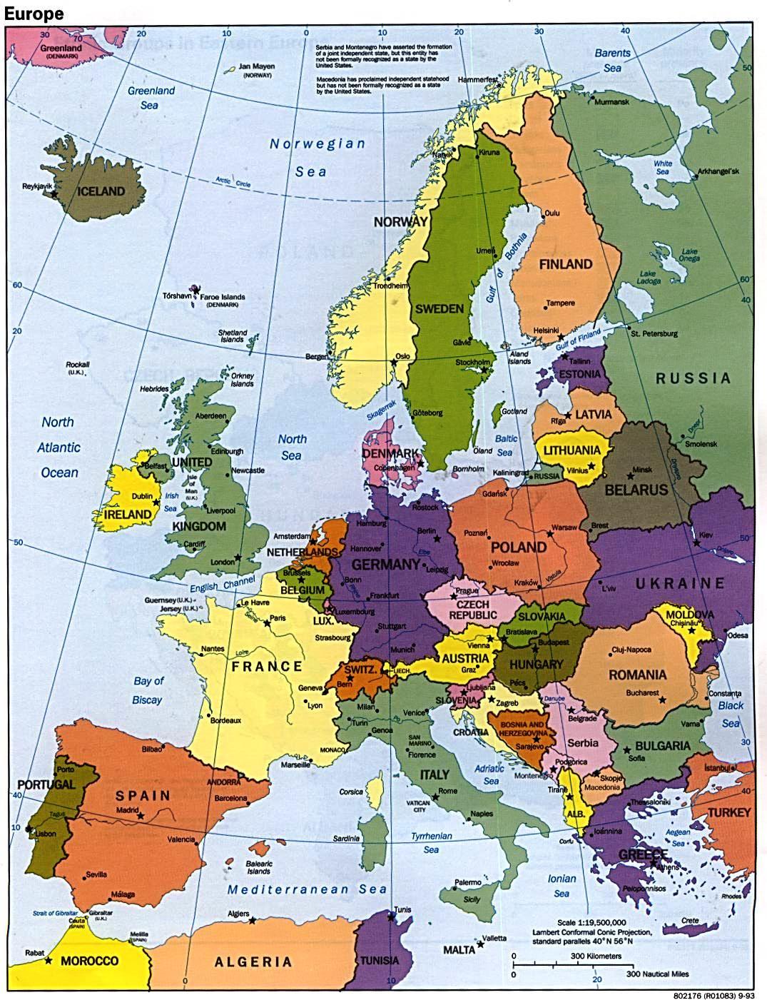 Politische landkarte von europa 1993 englisch weltatlas for Von deutsch auf englisch