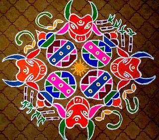 Sankranti Pongal Rangoli Kolam