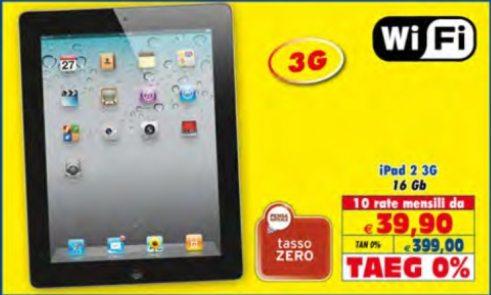 399 euro per Ipad 2 a rate tasso zero