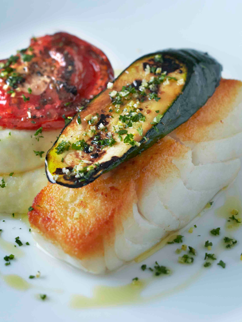 Roast cod with olive oil mash, provençale tomato, grilled courgette ...