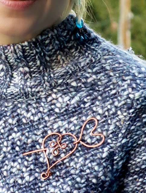 chunky sweater, reclaimed copper brooch