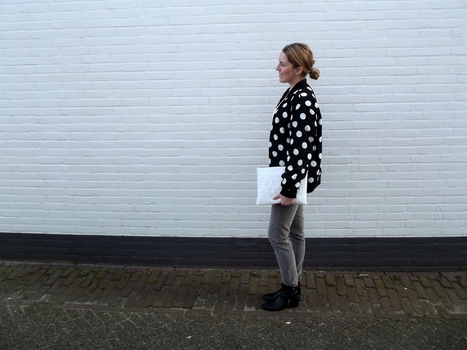 zara white clutch dotted jacket black and white