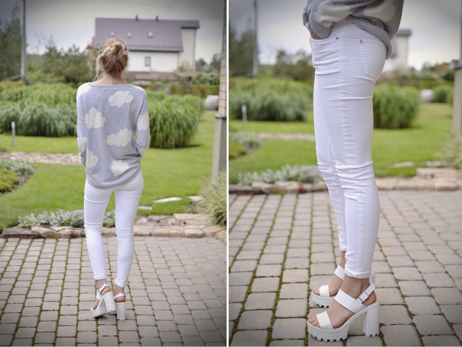 White skinny mango jeans