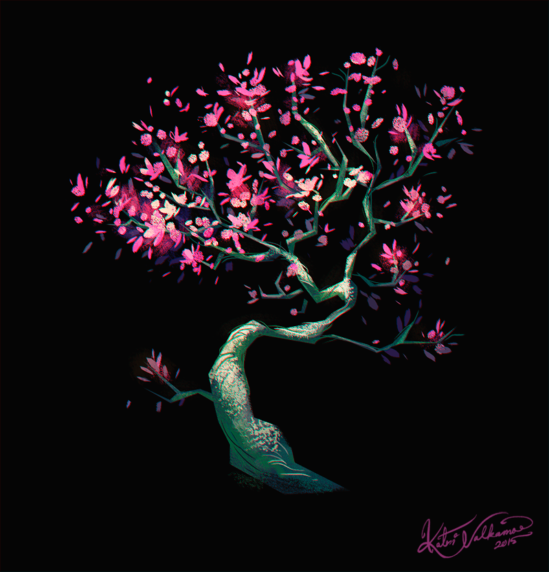 #cherry #tree #blossom #spting #illustration #sketch #digital #paiting #visual #development