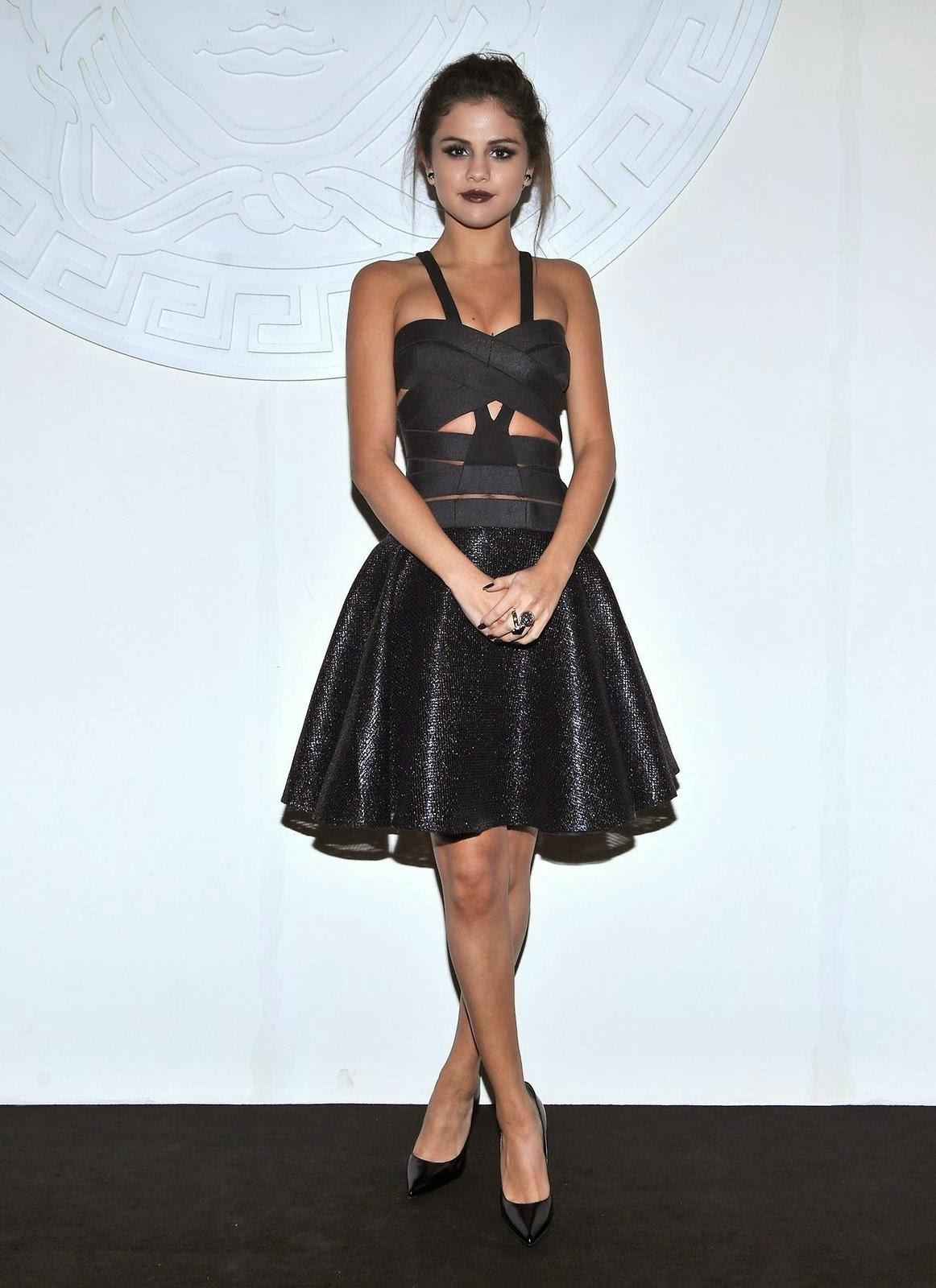 Selena Gomez Sexy Cutout Dress At Versace Show At Milan Fashion Week