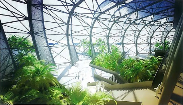 Rendering of interior garden at new Grande Stade de Casablanca by SCAU, Casablanca, Morocco