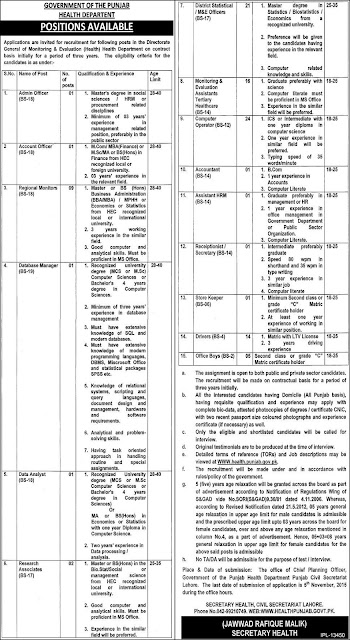 Jobs in Health Department Punjab Lahore Jobs