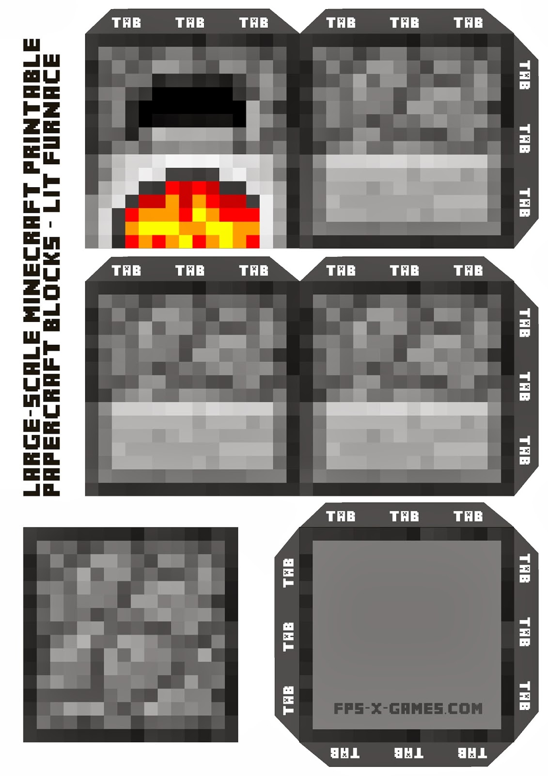 Large Scale Minecraft Printable Lit Furnace Block