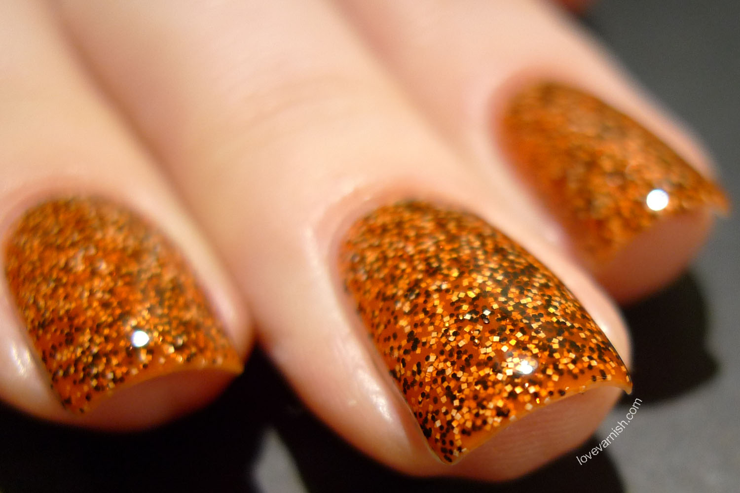 Dance Legend Caviar Polish Discus orange black white glitter