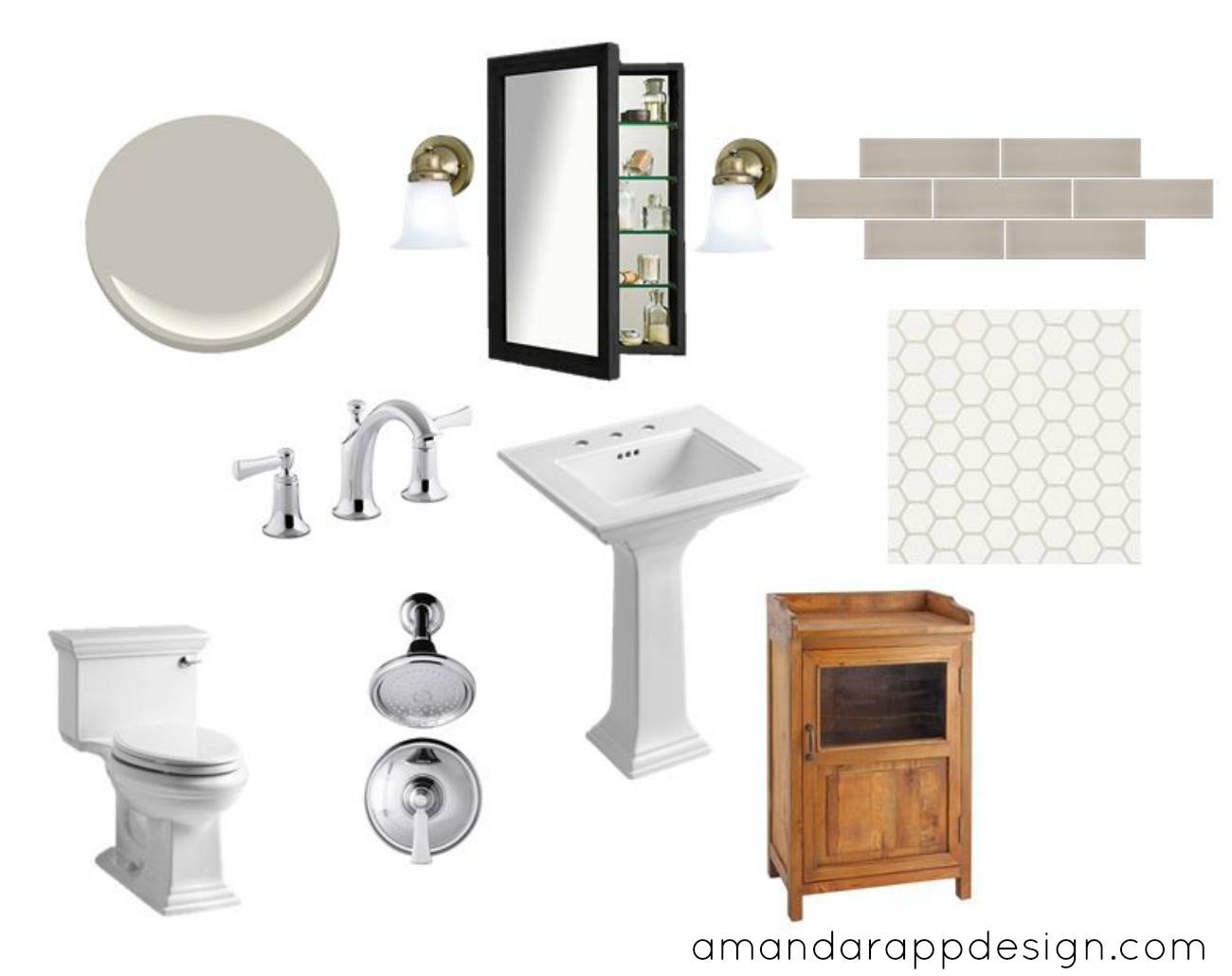 amanda rapp design bathroom design board