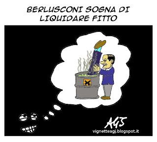 Berlusconi, Fitto, vignetta, satira