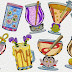 Glasses, wine glasses, balloon, dinosaurs applique embroidery designs
